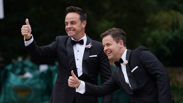 Ant and Dec greet fans and guests.