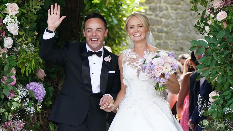 Ant McPartlin and Anne-Marie Corbett leaving St Michael's church, Heckfield in Hampshire, after their wedding ceremony