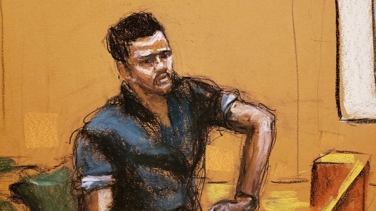 Court sketch of witness Anthony Navarro testifying at R Kelly's trial