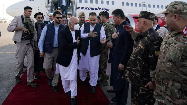 Afghan President Ashraf Ghani arrives in Mazar-i-Sharif to check the security situation of the northern provinces. Pic: Afghan Presidential palace/Reuters
