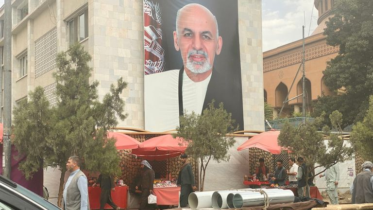Pictures of President Ashraf Ghani can be seen around Kabul