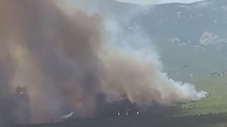 Wildfire burns in Athens suburb