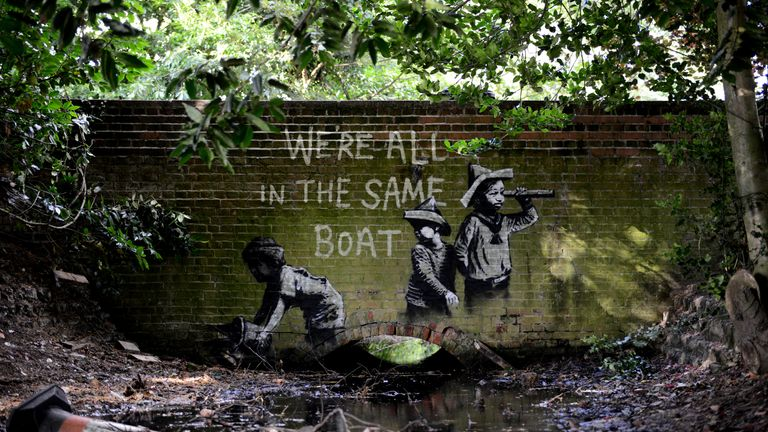 The artwork is believed to be a new piece by Banksy