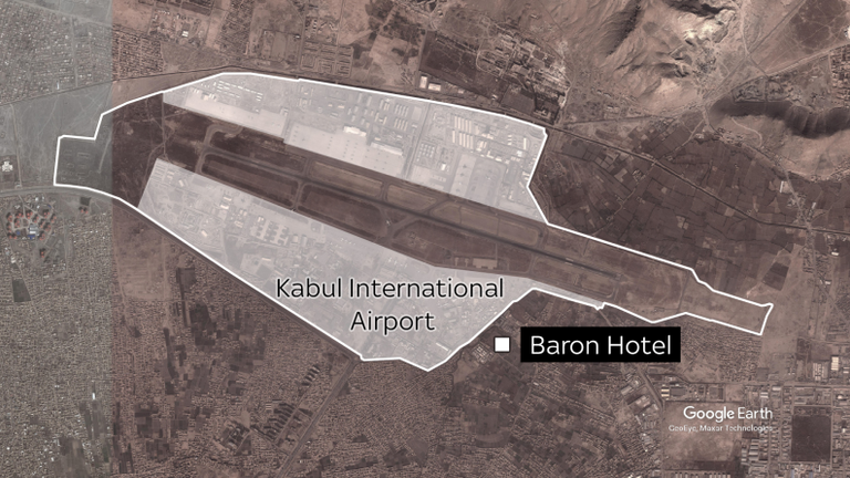 The Baron Hotel is a high-security residence that is being used by foreign officials to process the visas of Afghans hoping to escape Taliban rule.