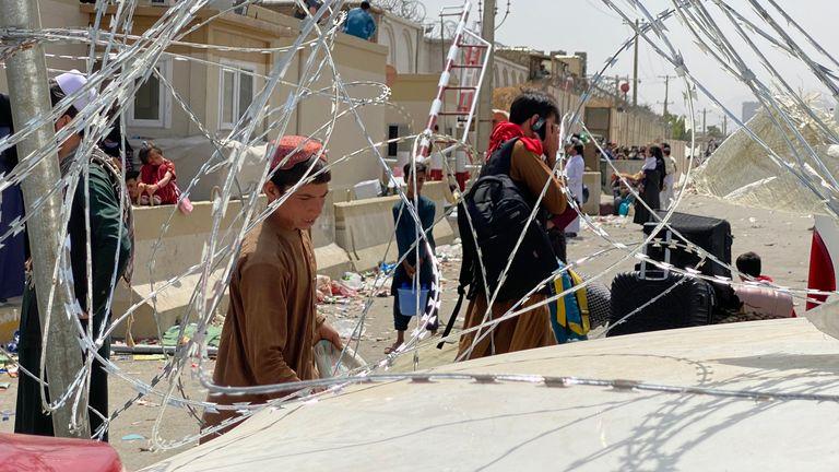 Barricade outside British compound