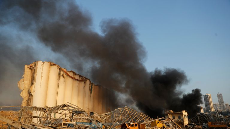 Beirut's port silos building after the explosion on August 2020