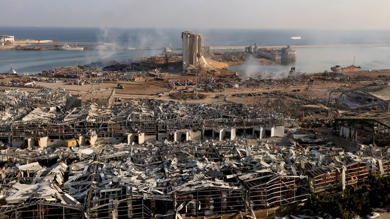 A general view shows the damage at the site of Tuesday's blast in Beirut's port area, Lebanon August 5, 2020. Picture taken August 5, 2021