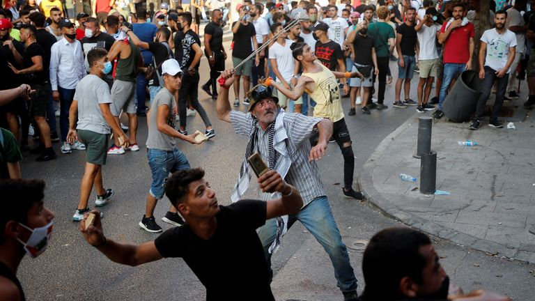 Police clashed with protesters who had been throwing stones towards security forces near parliament.