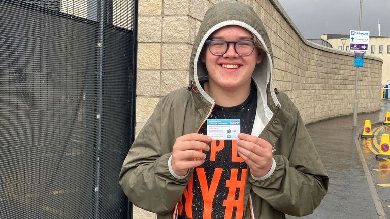 Elliot Aston, 16, from Newtownards, who got his first Pfizer jab at the SSE Arena in Belfast. Picture date: Friday August 6, 2021.
