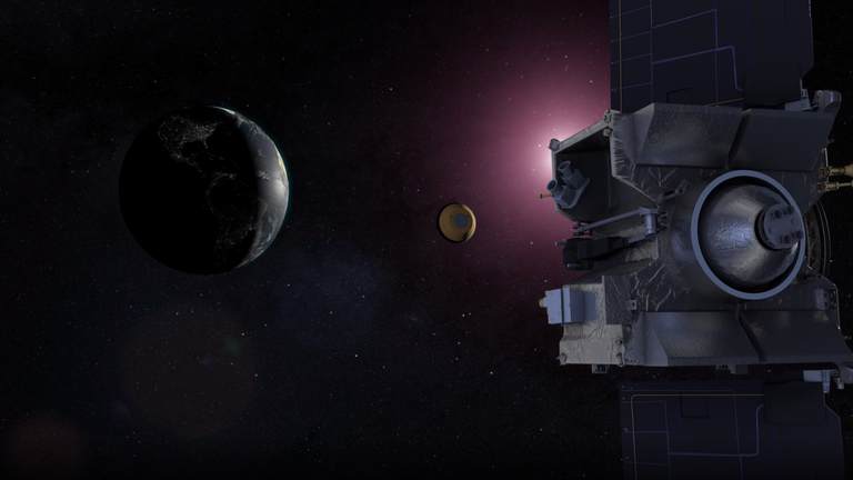 Artist's Concept of OSIRIS-REx's return to Earth with a sample from Asteroid Bennu in September 2023. Pic: NASA