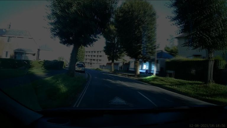 Dashcam footage shows Mr Pinkerton with Kate Shepherd in the moments after she was shot