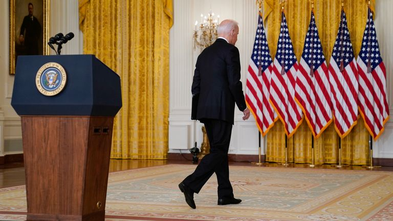 President Biden said the mission in Afghanistan was never meant to be about creating a democracy Pic: AP