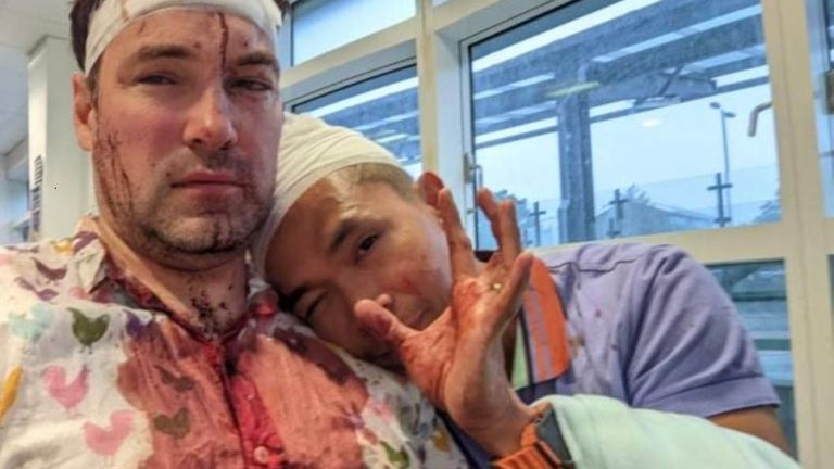 Rob and his husband, Patrick (right), were attacked by a group of men while they were out celebrating a friends birthday. Police have made one arrest and are searching for two more people. Pic Twitter/@LindaRiley8