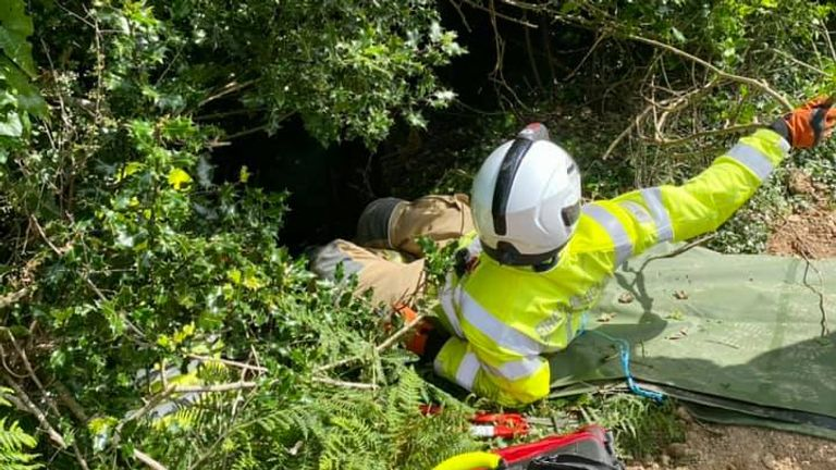 Woman, 83, rescued after falling 70ft down embankment after cat Piran meowed near where she fell. From Bodmin Police Facebook