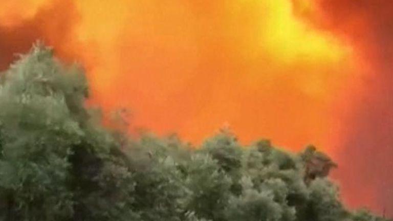 Wildfires burn in Bodrum