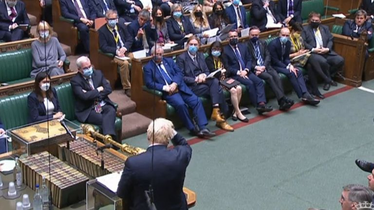Most MPs on the opposition benches chose to wear a face covering