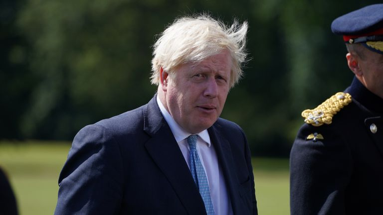 Prime Minister Boris Johnson arrives ahead of the Sovereign's Parade at Royal Military Academy Sandhurst in Camberley, which marks the completion of 44 weeks of training for the officer cadets. Picture date: Friday August 6, 2021.