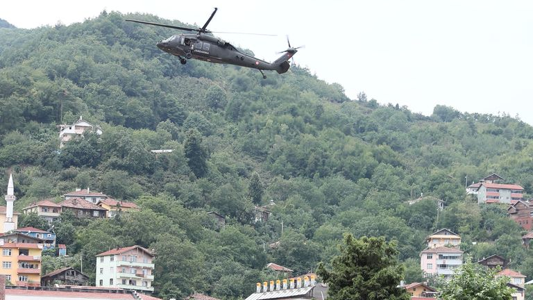 People in Bozkurt were rescued from their roofs by helicopters