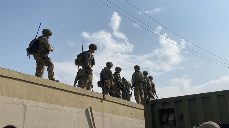 British soldiers on a container