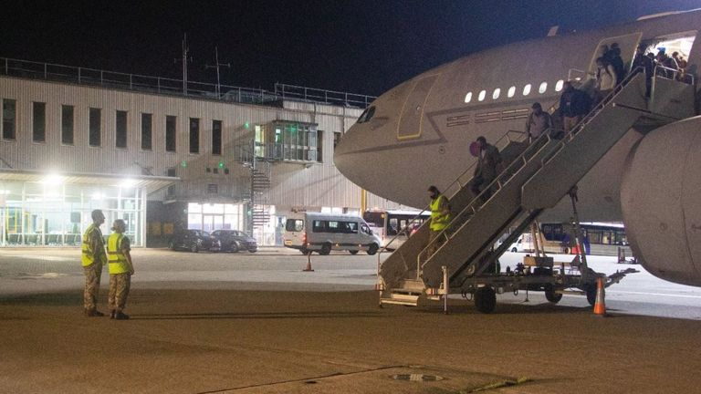British nationals and embassy staff arriving at RAF Brize Norton in Oxfordshire. Pic: Ministry of Defence/Twitter