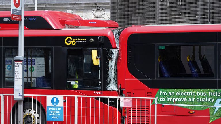 The scene at Victoria bus station, central London, after a crash involving two buses in which a female pedestrian was killed and two other people were injured. Picture date: Tuesday August 10, 2021.