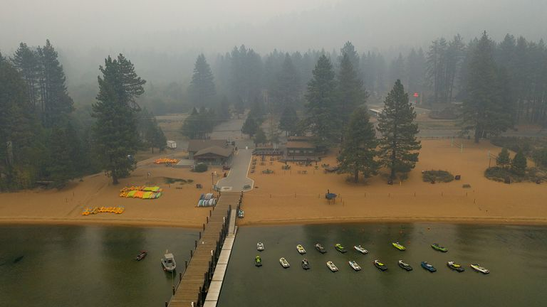 South Lake Tahoe's main medical facility, Barton Memorial Hospital, evacuated 36 patients needing skilled nursing and 16 in acute care beds on Sunday. Pic AP
