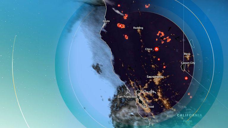 Fires are raging across California. Pic: Zoom Earth using NOAA GOES/EUMETSAT Meteosat/JMA Himawari-8 satellites