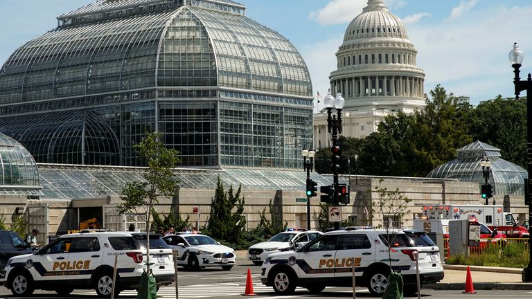 U.S. Capitol Police vehicles and other emergency vehicles respond as police investigated reports of a suspicious vehicle near the U.S. Capitol in Washington, U.S., August 19, 2021. REUTERS/Elizabeth Frantz