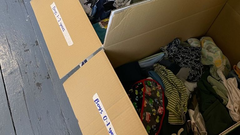 Clothes, shoes and toys were among the items being sorted at a warehouse in Manchester for the charity Care4Calais