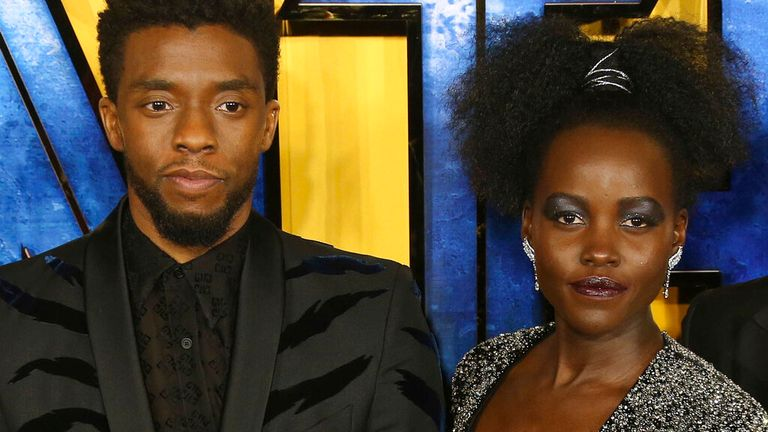Chadwick Boseman and Lupita Nyong'o at the Black Panther premiere in London in February 2018