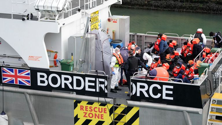 More than 11,000 people have now crossed the Dover Strait aboard small boats since the beginning of 2021. Pic: AP