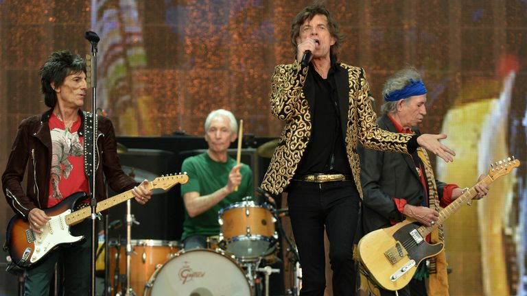 2013 - Mick Jagger, Ronnie Wood, Keith Richards and Charlie Watts from The Rolling Stones perform on stage during Barclaycard British Summer Time in Hyde Park, London.