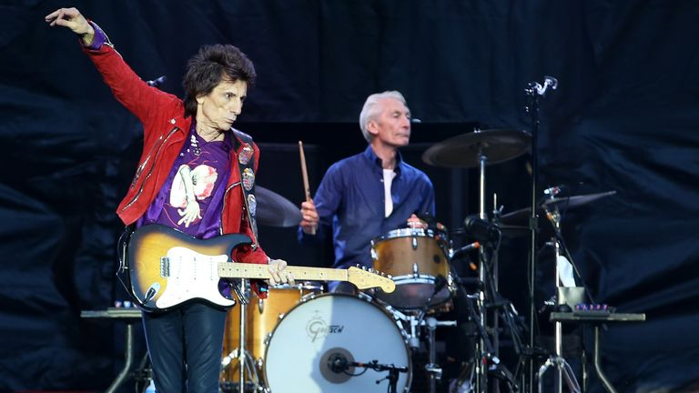 2018: Ronnie Wood and Charlie Watts of the Rolling Stones during their gig at the Murrayfield Stadium in Edinburgh, Scotland.