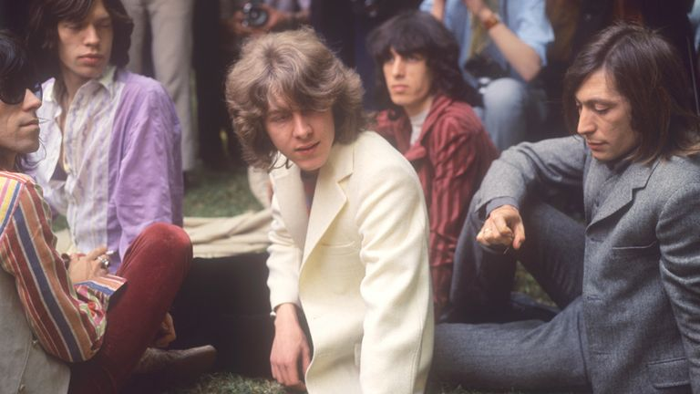 1969 New member Mick Taylor (c) joins the Rolling Stones to replace lead guitarist Brian Jones, pictured in Hyde Park, London. (l-r) Keith Richards, Mick Jagger, Mick Taylor, Bill Wyman and Charlie Watts.