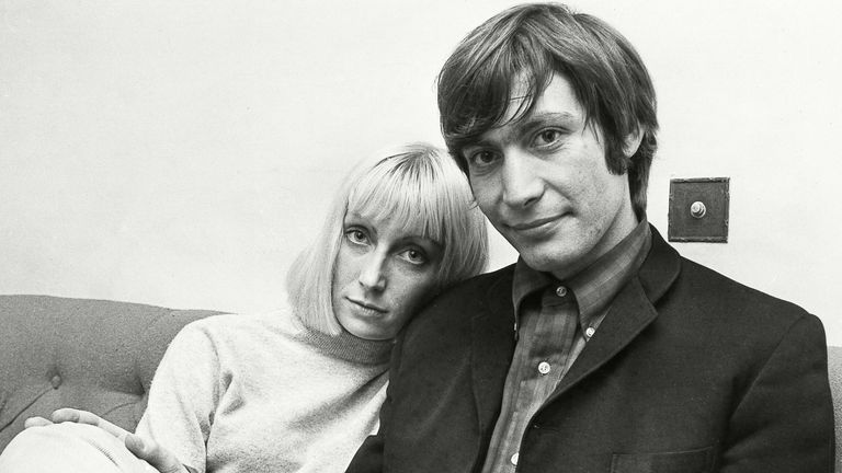 Charlie Watts with his wife Shirley in 1964. Pic: John Schute/Daily Mail/Shutterstock