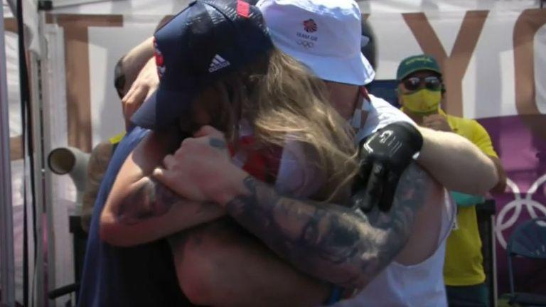 Charlotte Worthington celebrates her gold medal performance