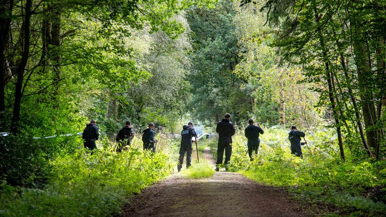 Police have been searching the land at Sand Hutton Gravel Pits