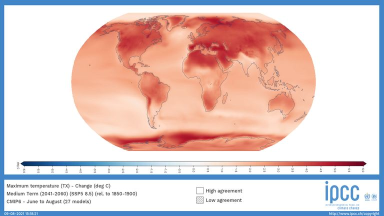 A world map from the IPCC report that shows the change in local temperature when the average global temperature rises by 1.5C in the next 20 years