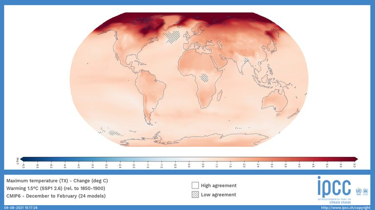 A world map showing the change in local winter temperature when the world heats up by an average of 1.5C in the next 20 years