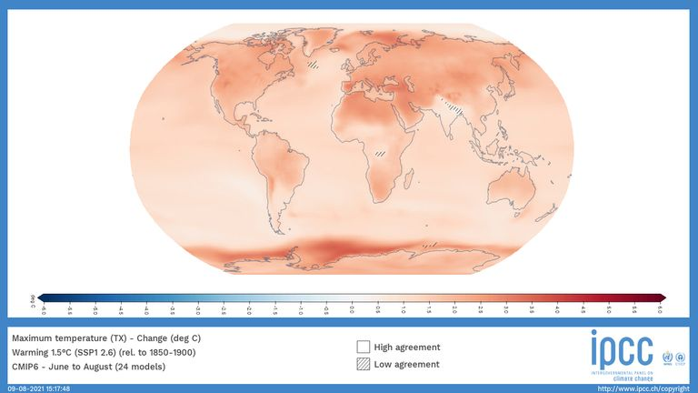 A world map showing the change in local summer temperature when the world heats up by 1.5C in the next 20 years