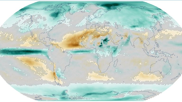 A world map showing the change in local winter rainfall when the globe heats up by 1.5C over the next 20 years