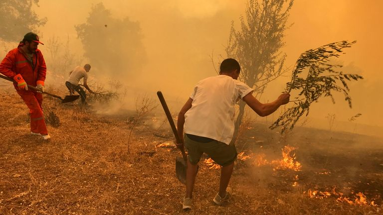 People use tree branches in an attempt to put out the flames of a wildfire in Iboudraren village