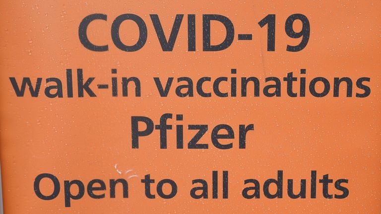 A sign outside the UK's first nightclub vaccine centre which has been set up at Birmingham's oldest and largest LGBT venue, the Nightingale Club. Picture date: Saturday August 7, 2021.