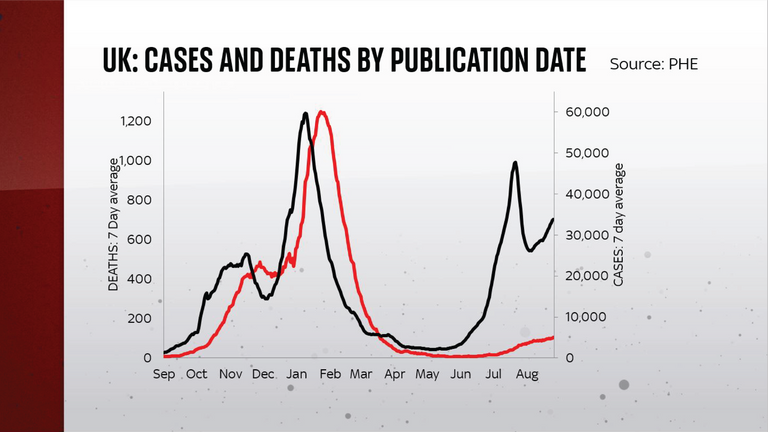 UK cases and deaths by publication date