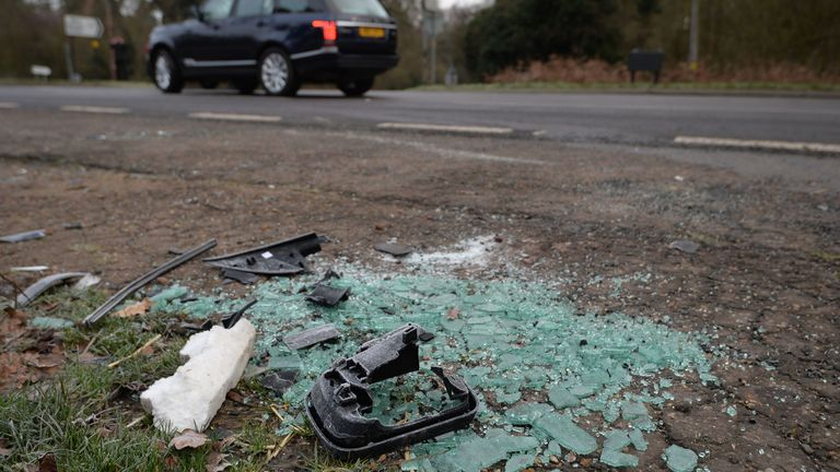 File photo dated 18/01/19 of broken glass and car parts on the side of the A149 near to the Sandringham Estate where the Duke of Edinburgh was involved in a road accident. The Queen privately owns Sandringham House and its vast surrounding estate, which includes 16,000 acres of farmland, 3,500 acres of woodland and 150 properties. Philip took on overall responsibility for the management of the estate at the start of the Queen�s reign in 1952. He concentrated on maintaining it for future generati