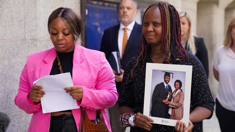 David Gomoh's sister Lizzie Gomoh (L) and his mother Marian Gomoh react to the guilty verdicts outside court