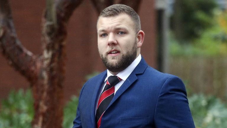 Birmingham-based Pc Declan Jones arriving at Coventry Magistrates' Court where he has been charged with a string of common assaults.