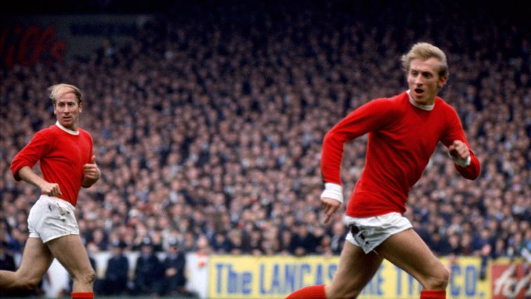 Denis Law and Bobby Charlton during a Manchester City v Manchester United match in 1967