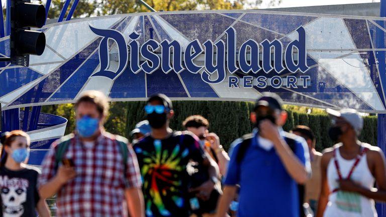 People leave the Disneyland Resort on Disneyland Park and Disney California Adventure's reopening day amidst the coronavirus disease (COVID-19) outbreak, in Anaheim, California, U.S., April 30, 2021. REUTERS/Mario Anzuoni/File Photo/File Photo