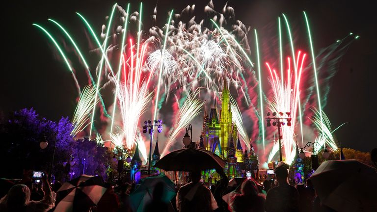 After a shutdown because of the Corona Virus fireworks fill the sky for the first time in 15 months at the Magic Kingdom at Walt Disney World Thursday, July 1, 2021, in Lake Buena Vista, Fla. (AP Photo/John Raoux)